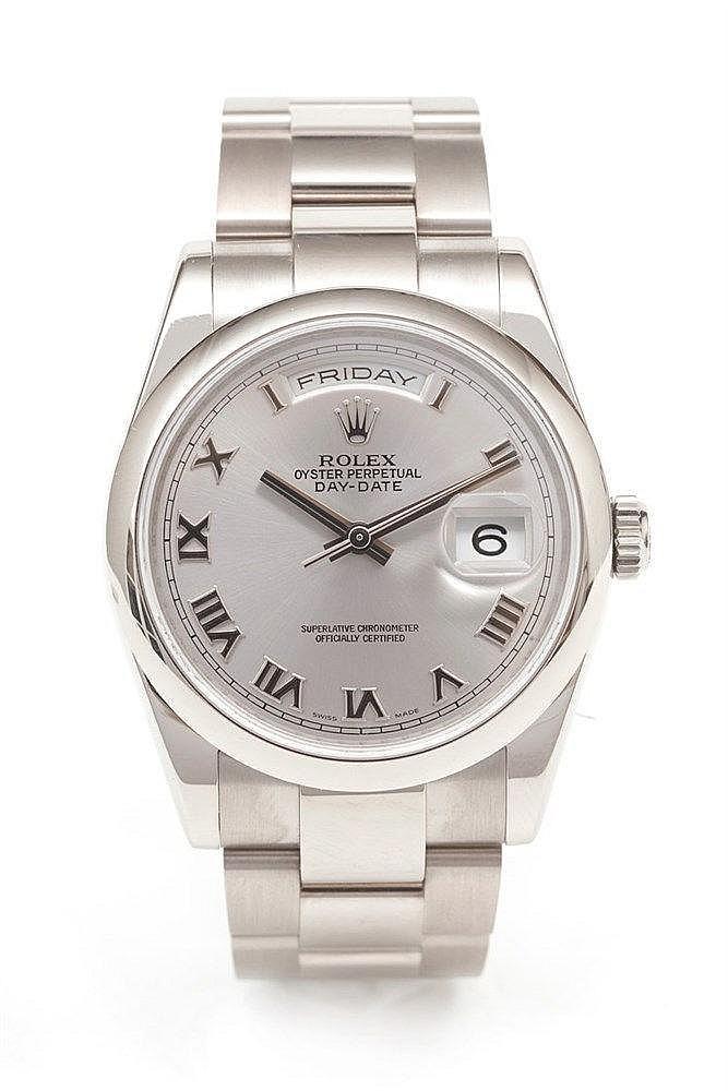 ROLEX - Montre Rolex en or gris réf. 118209 cadran gris avec chiffre