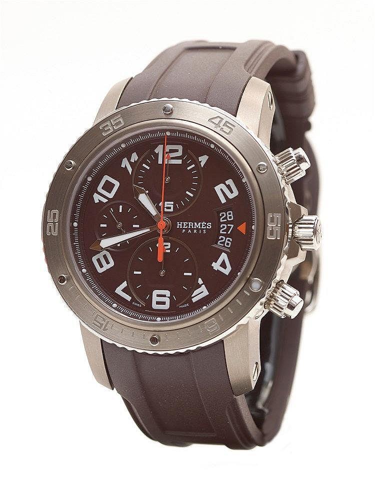 HERMES - Montre Clipper chronographe automatique en titane et acier,