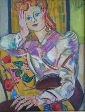 LOUIS LATAPIE (1891-1972) - JEUNE FILLE PENSIVE