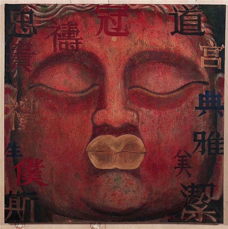 MA TSE-LIN (NE EN 1960) BOUDDHA XXXX, 1998 Huile sur toile Signée en Pinyin