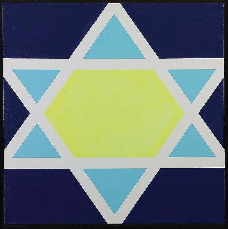 HU ZHIHONG (NEE EN 1966) SANS TITRE (DRAPEAU ISRAEL) Acrylique sur toile Si