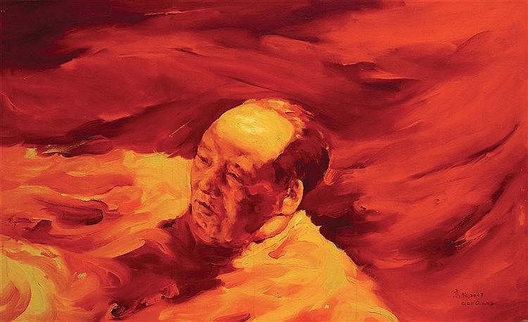 GAO QIANG (NE EN 1957) SWIMMING MAO, 2007 Huile sur toile Signée en Pinyin
