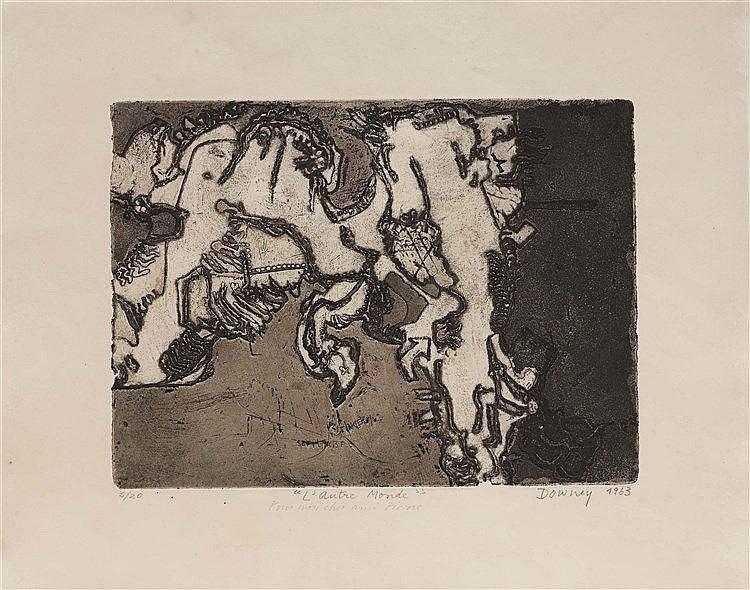 JUAN DOWNEY (1940-1993) L'AUTRE MONDE, 1963 Eau-forte et aquatinte en coule