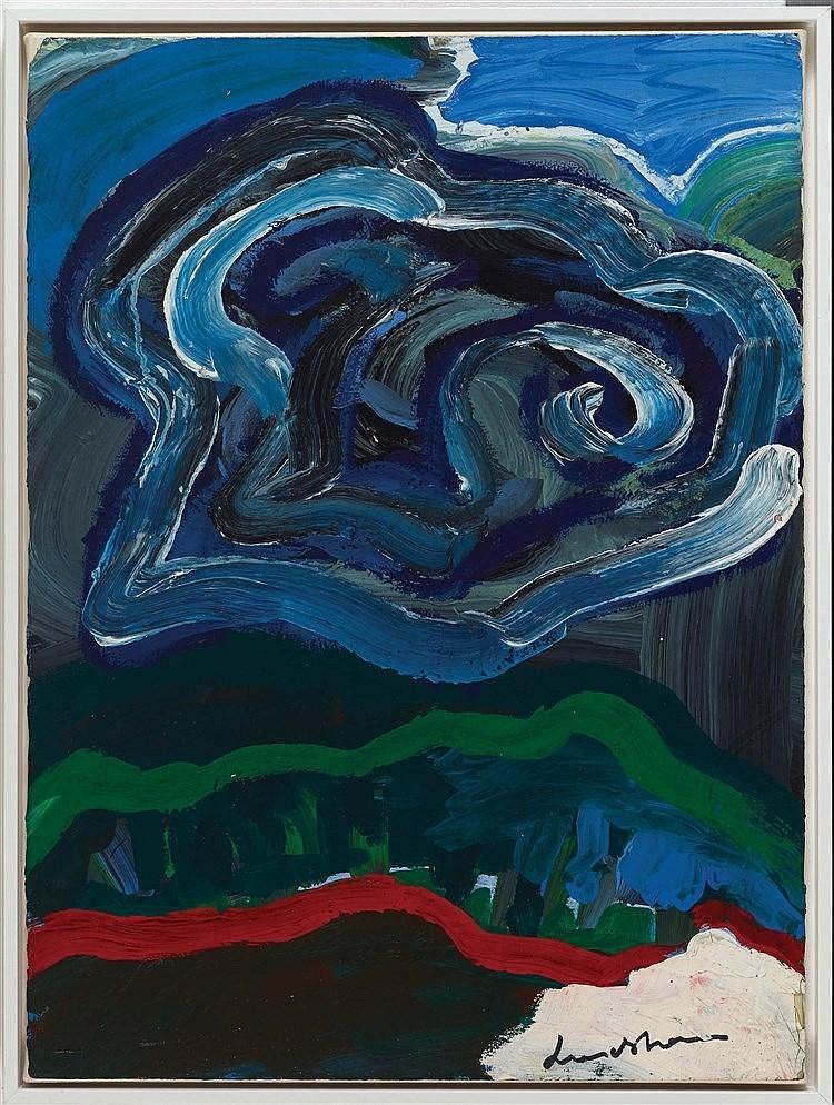 BENGT LINDSTROM (1925-2006) LE NUAGE, 1979 Gouache sur papier marouflé sur