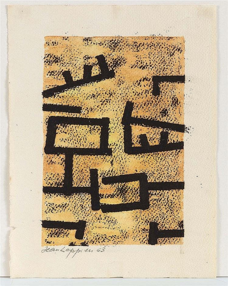 JEAN LEPPIEN (1910-1991) COMPOSITION, 1963 Encre et aquarelle sur papier Si