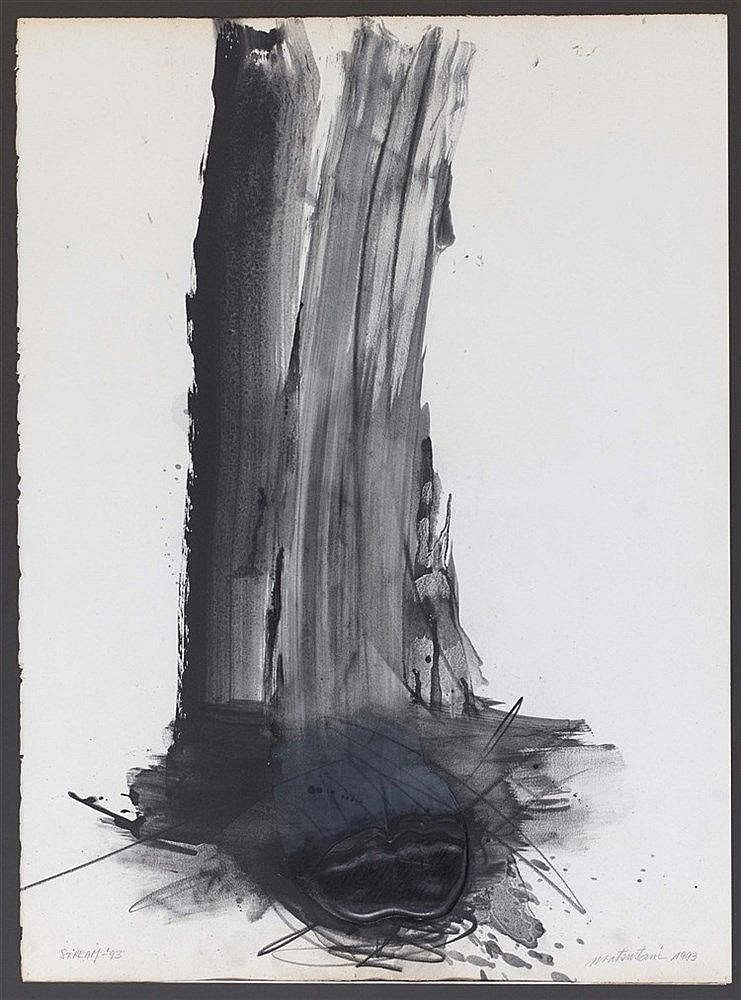 TAKESADA MATSUTANI (NE EN 1937) STREAM, 1993 Encre, relief vinylique et fus