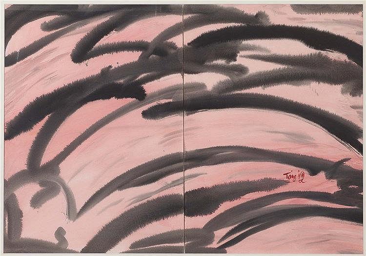 T'ANG HAYWEN (1927-1991) COMPOSITION OEuvre en deux éléments Aquarelle sur