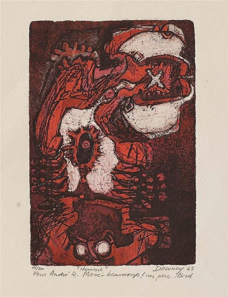 JUAN DOWNEY (1940-1993) HOMME, 1963 Eau-forte et aquatinte en couleurs sur
