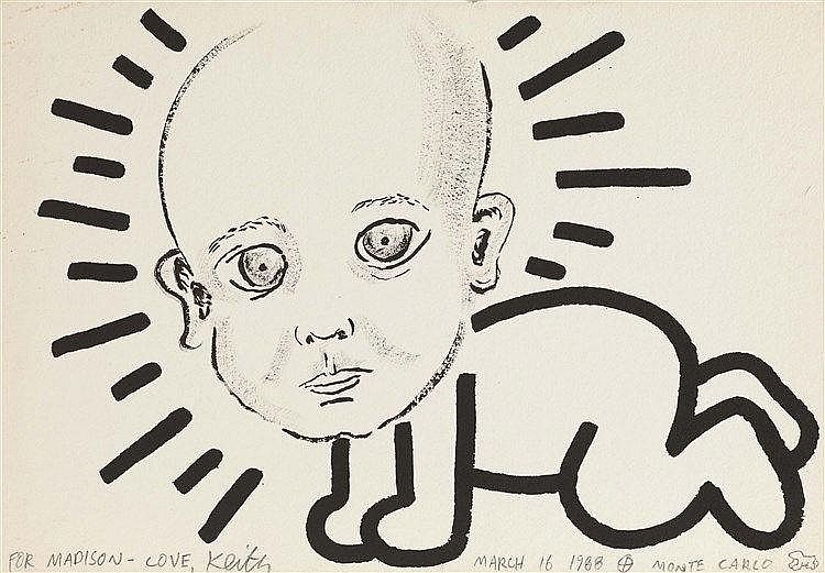 KEITH HARING (1958-1990) RADIANT BABY MADISON, 1988 Encre Sumi sur papier à