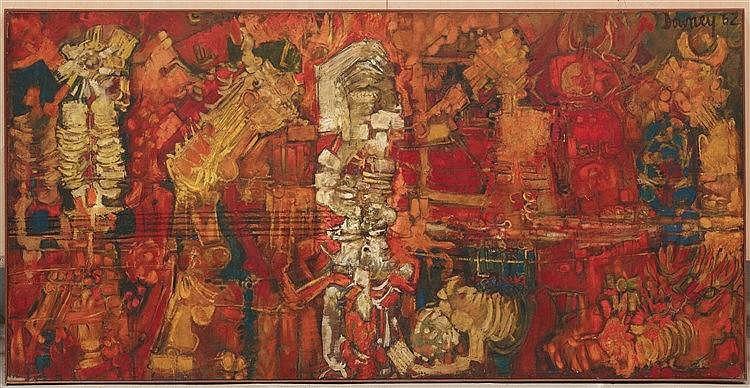 JUAN DOWNEY (1940-1993) BARCELONA, 1962 Huile sur toile Signée et datée en