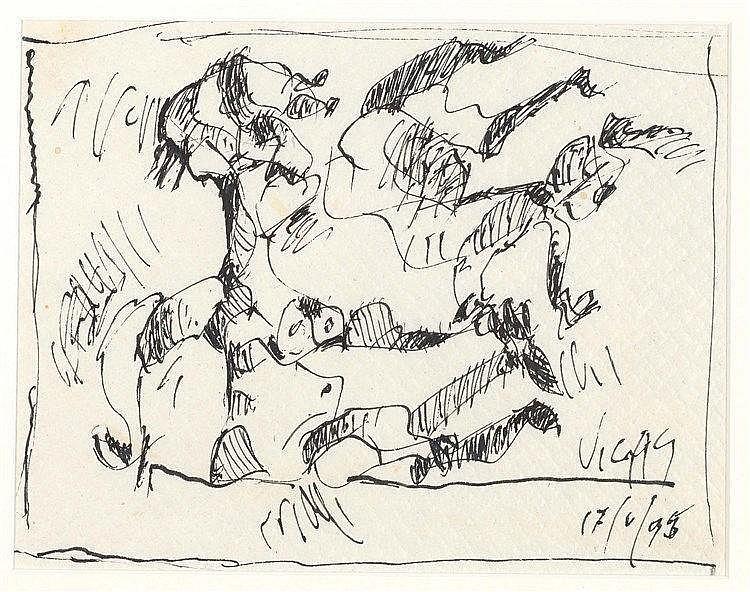 OSWALDO VIGAS (1926-2014) CARICATURE, 1995 Stylo-feutre sur nappe en papier