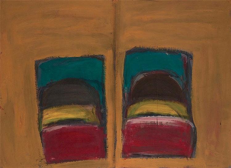 DAMIEN CABANES (NE EN 1959) SANS TITRE, 1995 Diptyque Gouache sur papier Si