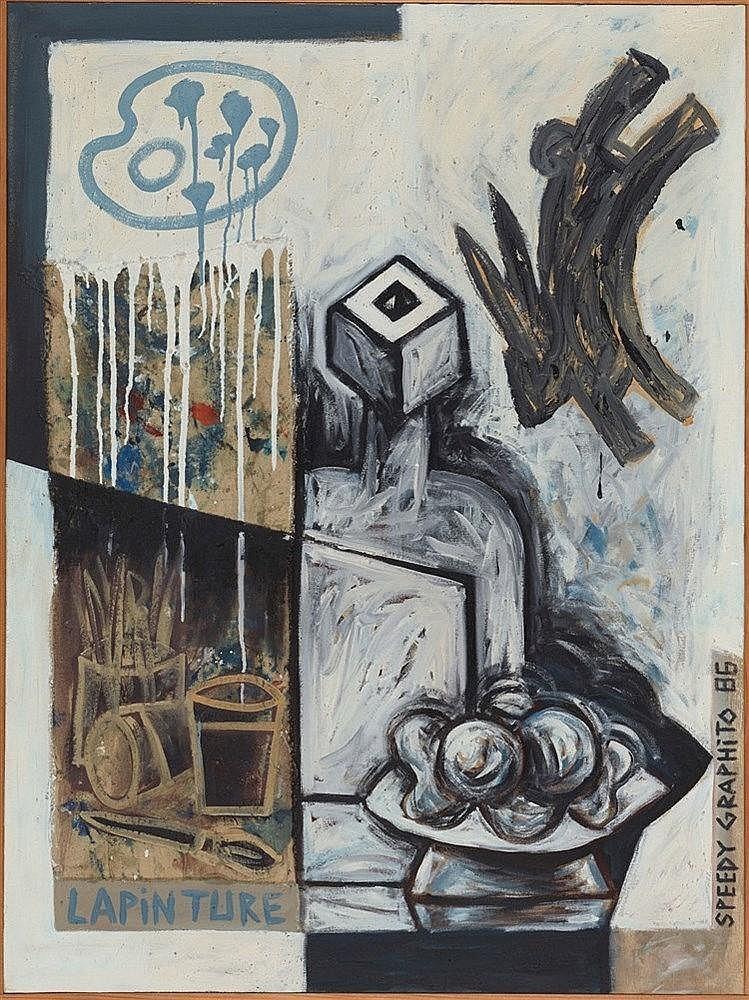 SPEEDY GRAPHITO (NE EN 1961) LA PINTURE, 1986 Acrylique sur toile marouflée