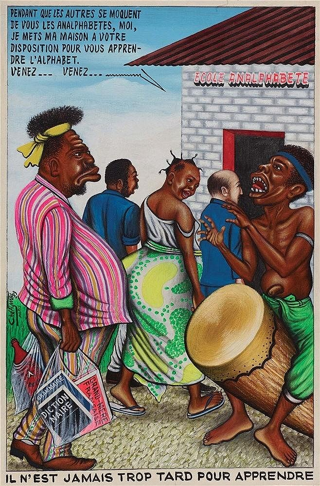 CHERI SAMBA (NE EN 1956) ECOLE ANALPHABETE, 1989 Huile sur toile Signée, da