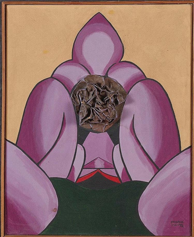 MAURICE HENRY (1907-1984) LA FLEUR DE BRONZE Technique mixte sur toile Sign