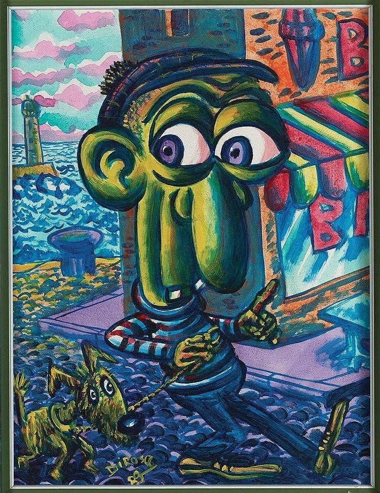 HERVE DI ROSA (NE EN 1959) LE PROMENEUR DE CHIEN, 1989 Acrylique sur toile