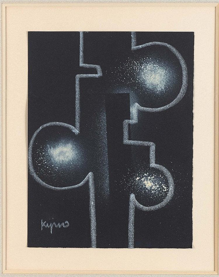 LADISLAS KIJNO (1921-2012) COMPOSITION Spray glycéro, pochoir et craie sur
