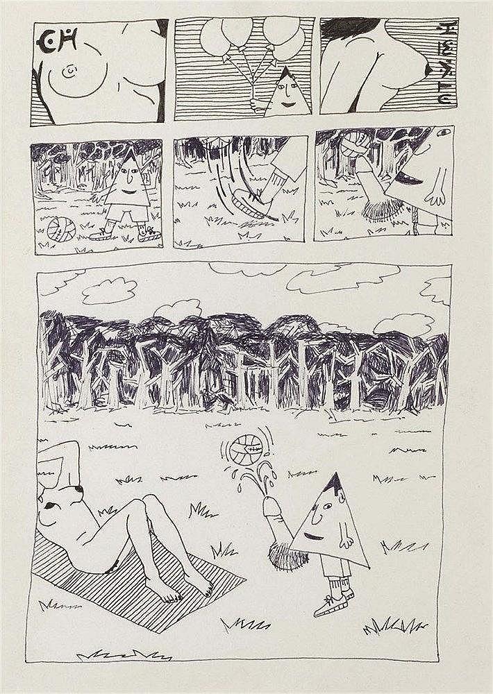 ROBERT COMBAS (NE EN 1957) SANS TITRE, 1981 Stylo-feutre sur papier 30 x 21