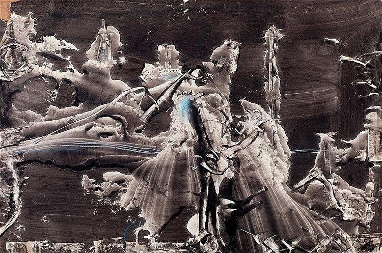 JERZY KUJAWSKI (1921-1998) SANS TITRE, 1962 Lavis d'encre et craie sur papi