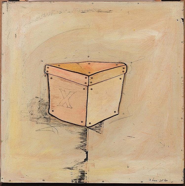 ERIC LIOT (NE EN 1964) X BOXE, 2000 Bois peint et métal Signé, titré et dat