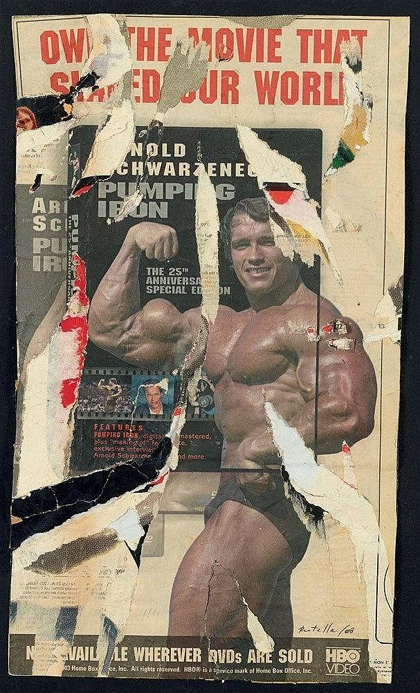 MIMMO ROTELLA (1918-2006) PUMPING IRON SCHWARZENEGGER, 2003 Affiches lacéré