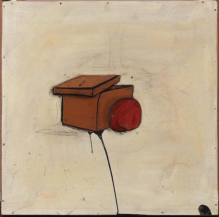 ERIC LIOT (NE EN 1964) PETIT CARRE VII Bois peint et métal Signé, titré et