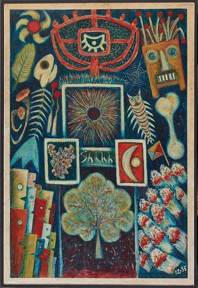 PHILLIP MARTIN (1927- 2014) AFFICHE, 1955 Huile sur isorel Signée en bas à