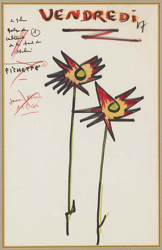 JACQUES PREVERT (1900-1977) EPHEMERIDE (VENDREDI 17) Pastel et feutre sur p