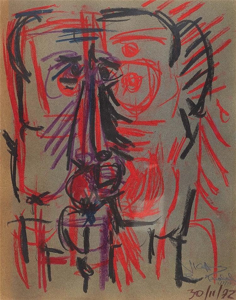 OSWALDO VIGAS (1926-2014) PORTRAIT, 1972 Gouache, fusain et pastel gras sur