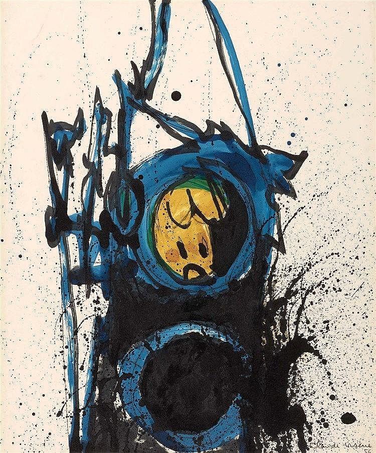 CLAUDE VISEUX (1927-2008) COMPOSITION, 1956 Peinture sur papier Signée et d