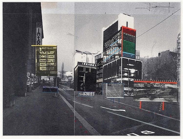 JEAN NOUVEL (NE EN 1945) PROJET POUR BERLIN Collage et rehauts de gouache s