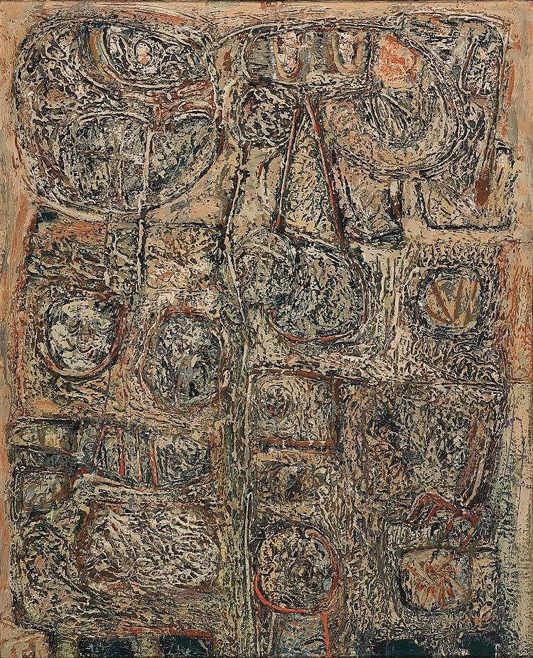 JAN MEYER (1927-1995) COMPOSITION, 1958 Huile sur toile Signée et datée en