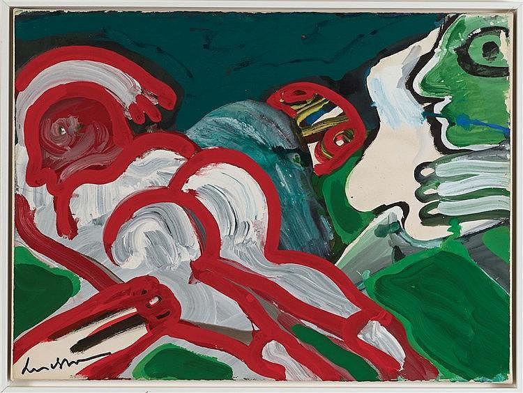 BENGT LINDSTROM (1925-2006) SOUS LES AULNES, 1969 Gouache sur papier marouf