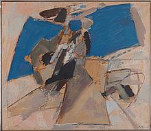 ALBERT BITRAN (NE EN 1929) OCRE ET BLEU, 1972 Huile et fusain sur papier kr