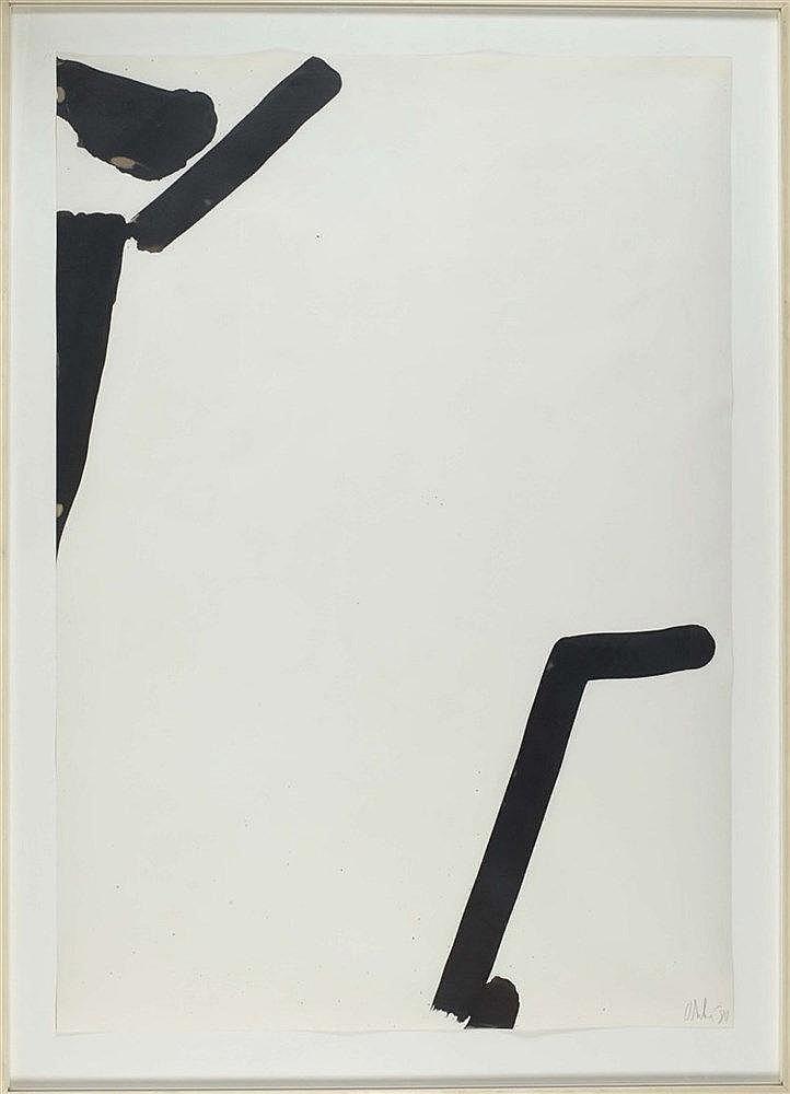 OLIVIER DEBRE (1920-1999) SIGNE PAYSAGE, 1980 Encre de Chine sur papier Si