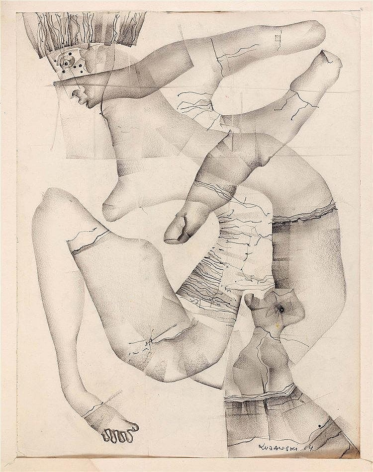 JERZY KUJAWSKI (1921-1998) SANS TITRE, 1964 Encre, mine de plomb et estompe