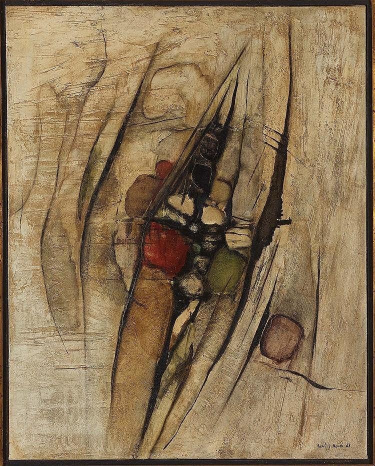 PAUL JEAN REVEL (1922-1983) COMPOSITION N°104, 1961 Huile sur toile Signée