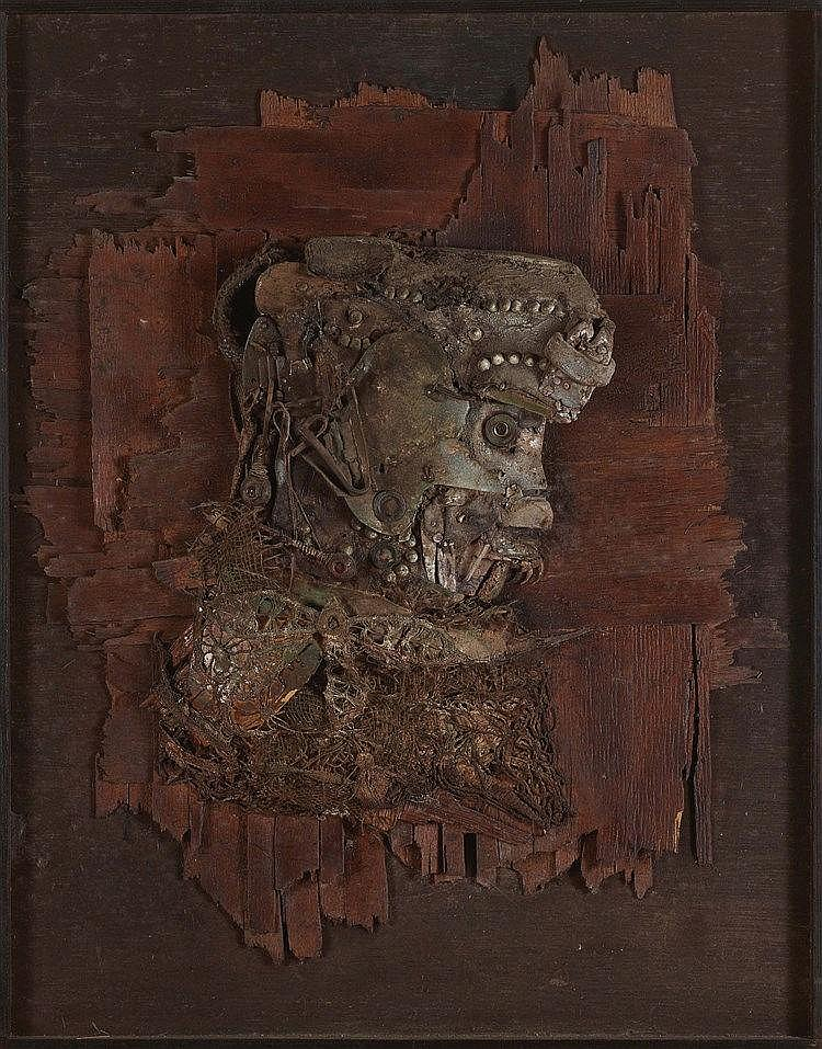 LOUIS PONS (NE EN 1927) L'ANCETRE Technique mixte sur panneau Signée, titré