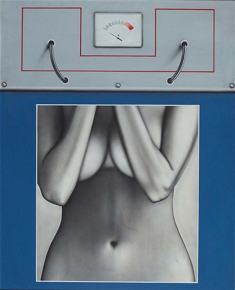 PETER KLASEN (NE EN 1935) NU+DISJONCTEUR, 1970 Huile sur toile Signée, titr
