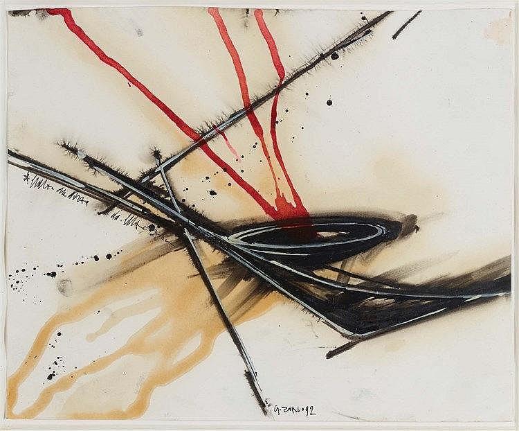 GILBERTO ZORIO (NE EN 1944) COMPOSITION, 1992 Aquarelle et encre sur papier