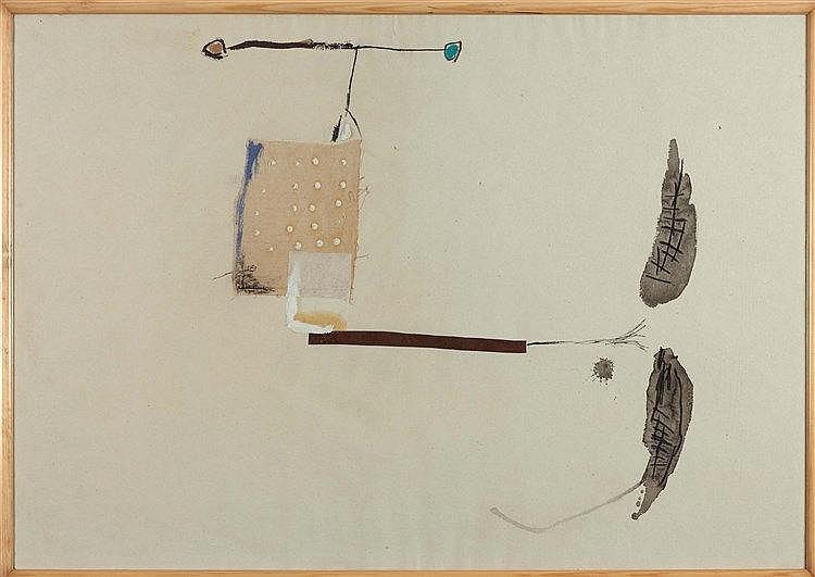 JOSEP RIERA I ARAGO (NE EN 1954) SANS TITRE Collage, acrylique, fusain et e