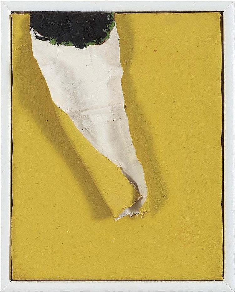 ANGEL ALONSO (1923-1994) NOIR-JAUNE Technique mixte sur toile Monogrammée a