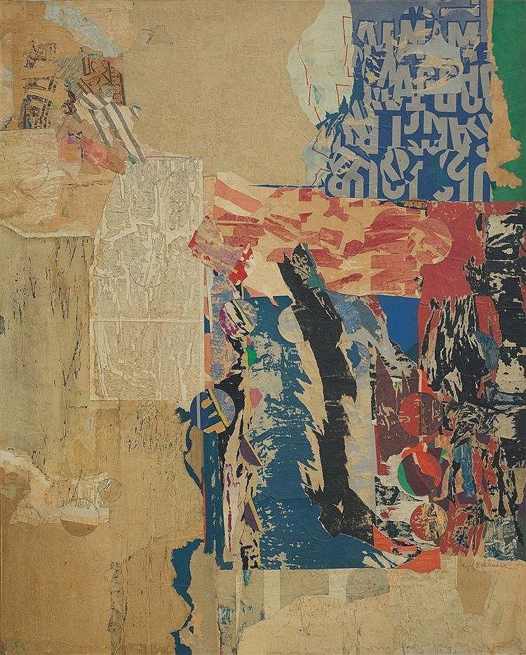 ARTHUR AESCHBACHER (NE EN 1923) MORCEAU D'ANTOLOGIE, 1964 Collage éclaté su