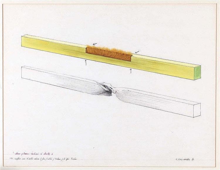 GERARD TITUS-CARMEL (NE EN 1942) DEUX PLATEAUX INCLINES A DROITE, 1970 Aqua