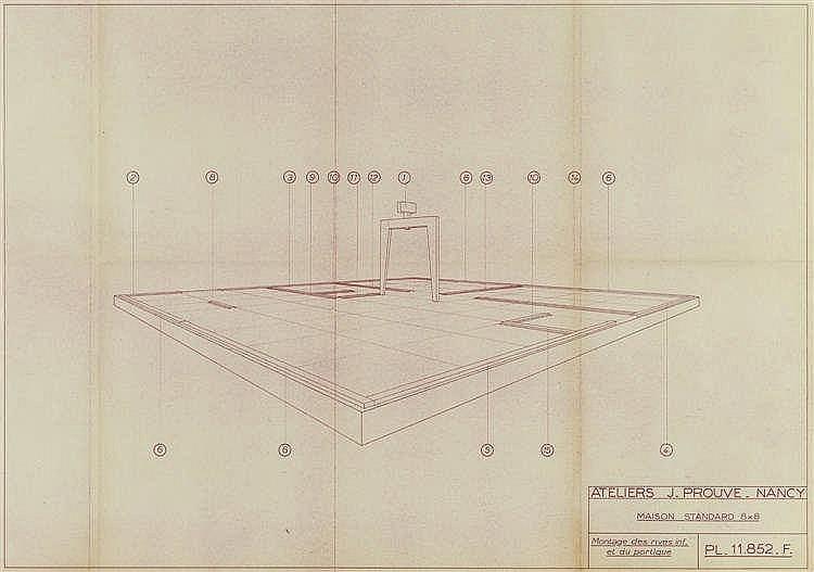 Jean prouve 1901 1984 plan maison standard 8x8 coupe trans - Plan de coupe maison ...