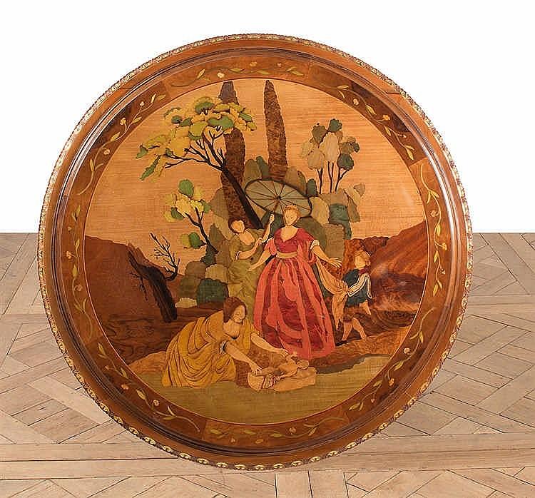 gu ridon de forme circulaire en bois naturel partiellement d. Black Bedroom Furniture Sets. Home Design Ideas