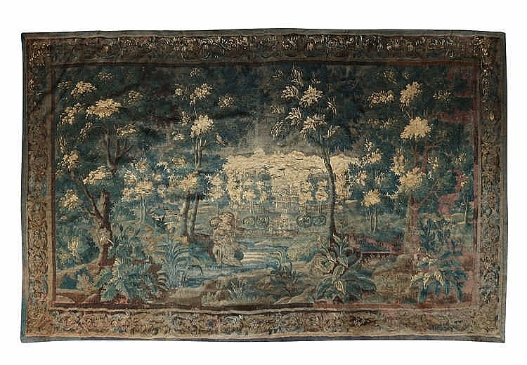 tapisserie dite verdure pr sentant un paysage bois anim su. Black Bedroom Furniture Sets. Home Design Ideas