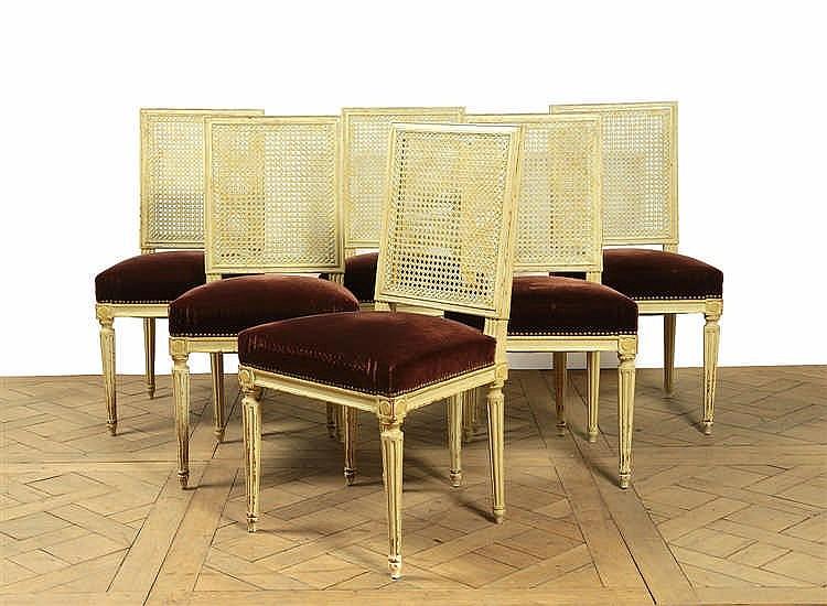 suite de six chaises dossier plat fond de canne bois r. Black Bedroom Furniture Sets. Home Design Ideas