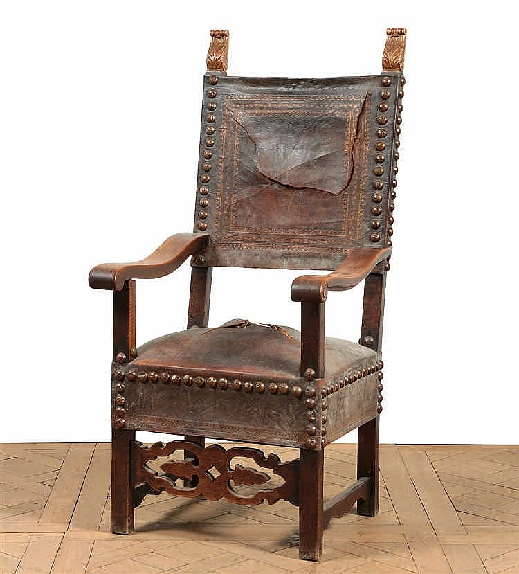 Fauteuil haut dossier quadrangulaire recouvert de cuir gau - Chaise cuir dossier haut ...