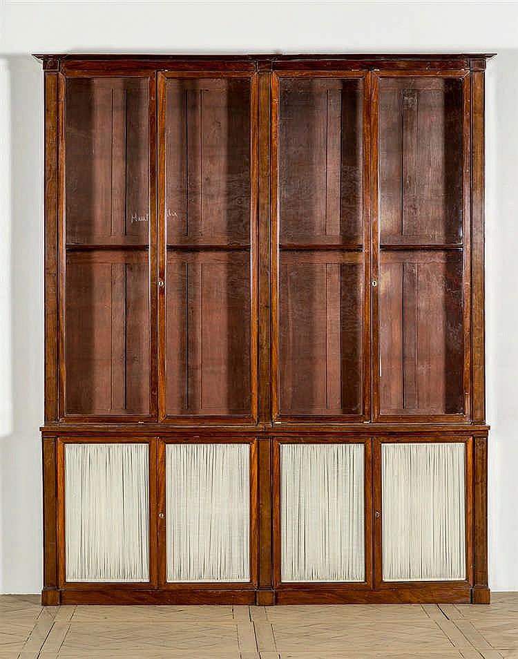 Biblioth que deux corps de forme rectangulaire en acajou e - Bibliotheque en forme de maison ...